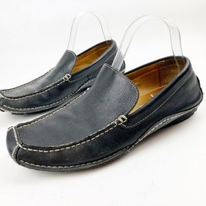 Franco Fortini Black Leather Slip On Loafers R302